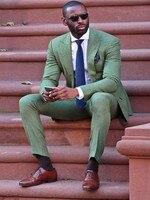 Custom Casual Green Men Suit Slim Fit Street Smart Business Prom Blazer Latest Coat Pant Designs Groom Wedding Suits 2 Pieces