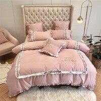 Из египетского хлопка рябить одеяло Стёганое одеяло крышка набор розовый белый В стиле принцессы постельных принадлежностей queen King size ульт