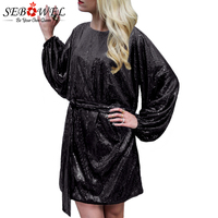 879a803a48 SEBOWEL Sexy Black Sequin Dress Women Long Sleeve Glitter Party Dress  Female Casual Oversize Shine Sparkly