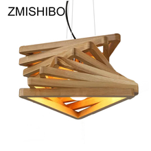 ZMISHIBO Magic Design Pendant Lamp Wooden 43CM E27 110/220V 1M Cord Ceiling Mounted Art Droplights For Restaurant Dining Hall zmishibo spider shape 8 12 16 heads e27 110v 220v pendant lamp black iron ceiling droplights for living room lighting fixtures