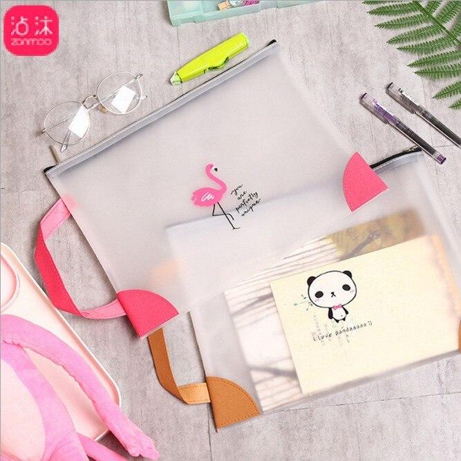 TPU Portable A4 Transparent Zipper File Folder Bag Multi Pocket Book Bag Office And School Students Stationery