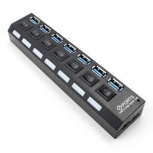Image 2 - USB HUB 3.0 4/7 منافذ المصغّر USB 3.0 HUB الفاصل مع محول الطاقة USB هب عالية السرعة 5 جيجابايت في الثانية USB الخائن 3 محور للكمبيوتر
