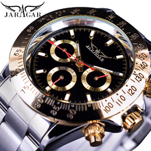 цена на Jaragar Men's Automatic Self Wind Mechanical Watch Golden Bezel Date Stainless Steel Strap Sport Business Watches Clock Relogio