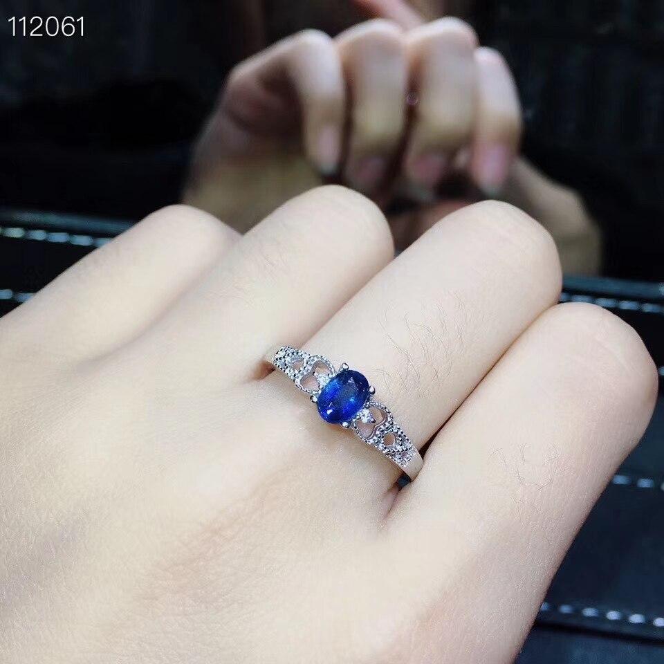Antico Bella Scava Chiave S925 silver blue natural sapphire gemma dell'anello Del Pendente naturale della pietra preziosa dei monili donna del partito del regalo - 5