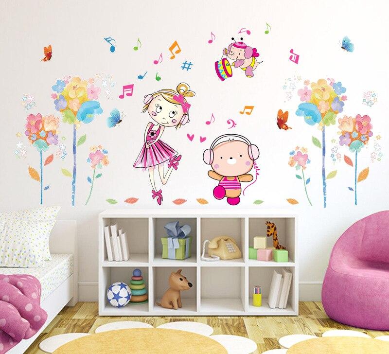 Flowers Cute Girl Music Wall Mural Poster Home Decor Kids