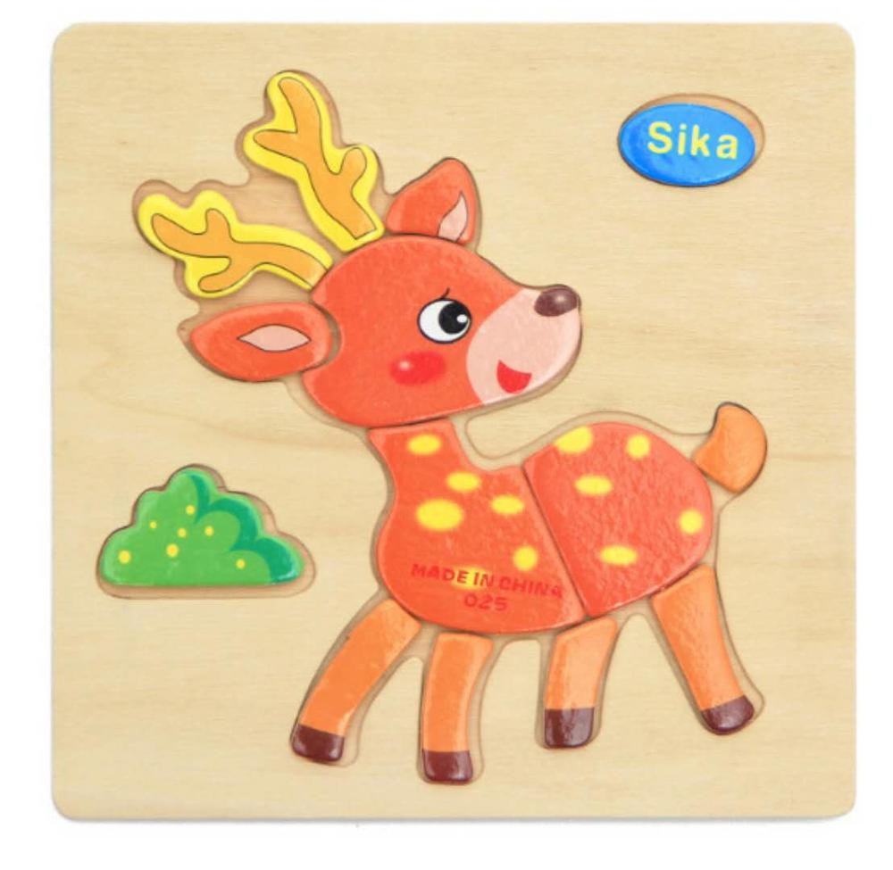 3D деревянные головоломки, игрушки для детей, Деревянные 3d Мультяшные головоломки с животными, интеллектуальные детские развивающие игрушки для детей - Цвет: Прозрачный