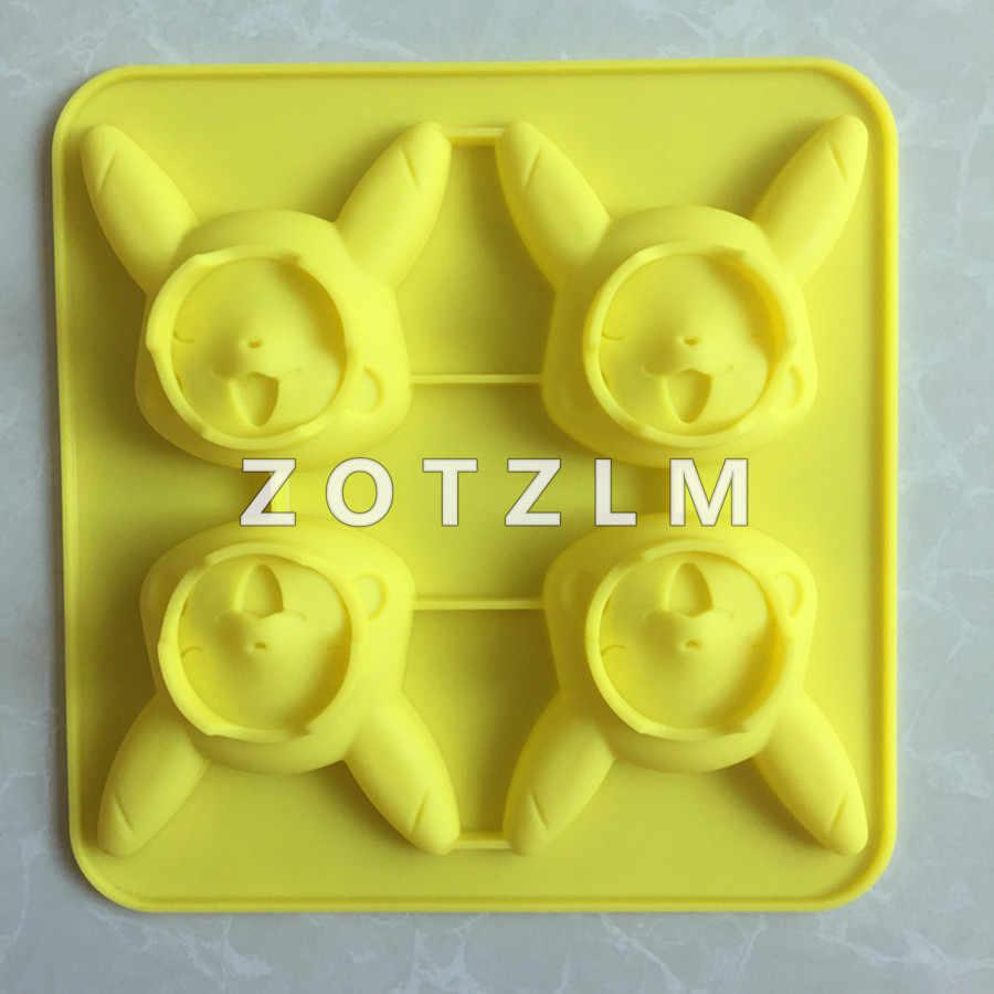 1 mảnh 4 Phim Hoạt Hình Pikachu Hình Dạng Silicone Jelly Pudding Fondant  Pokemon Bánh Loạt Khuôn Sô Cô La Làm Công Cụ TXG050|