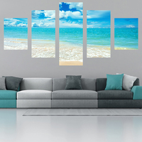 No Framed 5 Panel Blue Sea Modern Printed Painting On Canvas Painting For Home Decor Wall