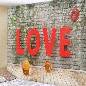 Image 4 - 웨딩 장식 태피스트리 벽 패브릭 히피 보홀 러브 로즈 태피스트리 벽 교수형 발렌타인 데이 선물 기숙사 매트리스 벽 카펫