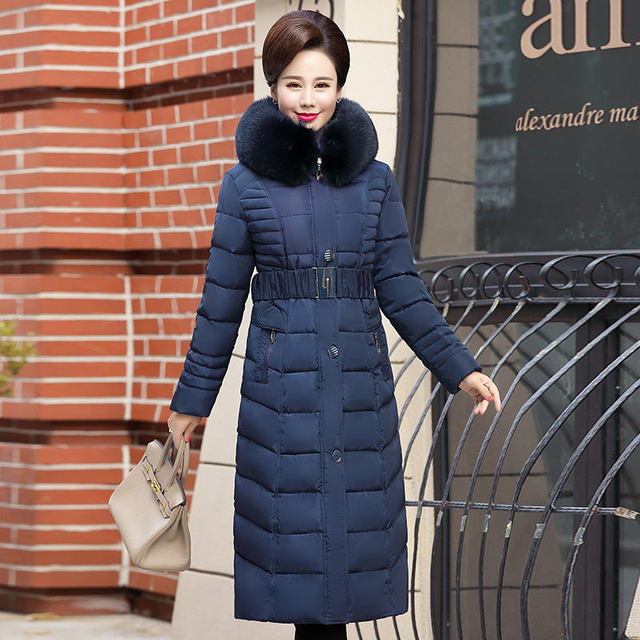 Plus Size 4XL 5XL Middle-Aged Long Winter Jacket Thicken Hooded Fur Collar Cotton Padded Jacket Female Winter Coat Women C5062 1