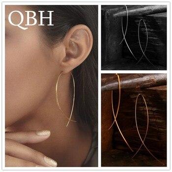 EK143 European & American Simplicity Fish Shaped Stud Earrings for Women Hyperbole Jewelry Copper Wire Brincos de gota Feminino