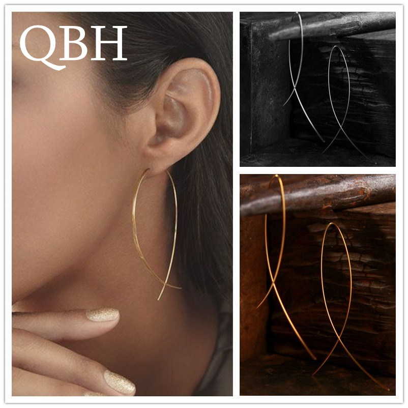 EK143 European   American Simplicity Fish Shaped Stud Earrings for Women  Hyperbole Jewelry Copper Wire Brincos de gota Feminino 7240881bf