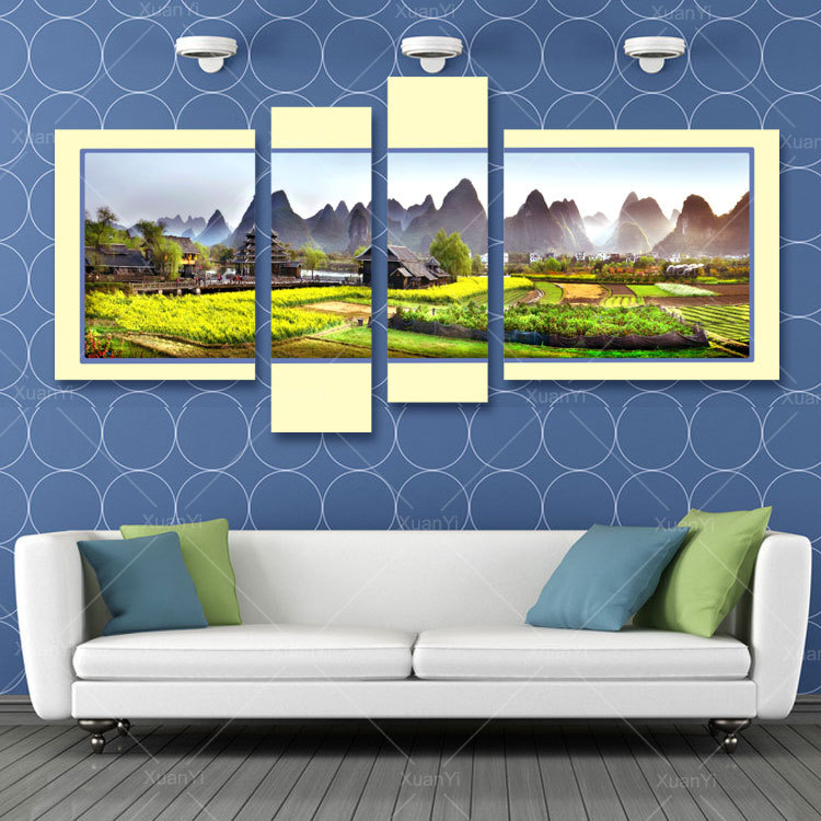 buy 4 panel canvas painting wall picture landscape oil painting large wall art. Black Bedroom Furniture Sets. Home Design Ideas