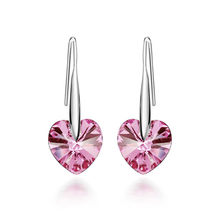 SHUANGR 2017 New Silver color Earrings Pink Austria Cubic Zircon Crystal Heart Shape Jewelry Fashion Earrings for Women Brinco(China)
