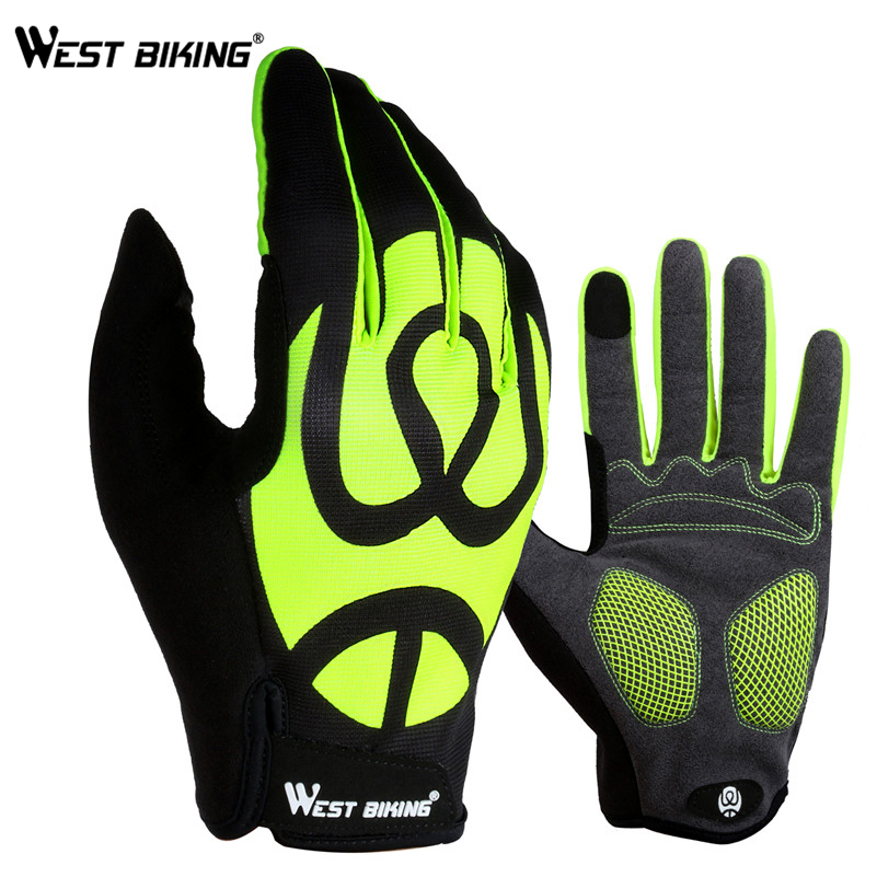1 Pair Cycling Bicycle Full Finger Breathable Silicone Gel Glove Green L