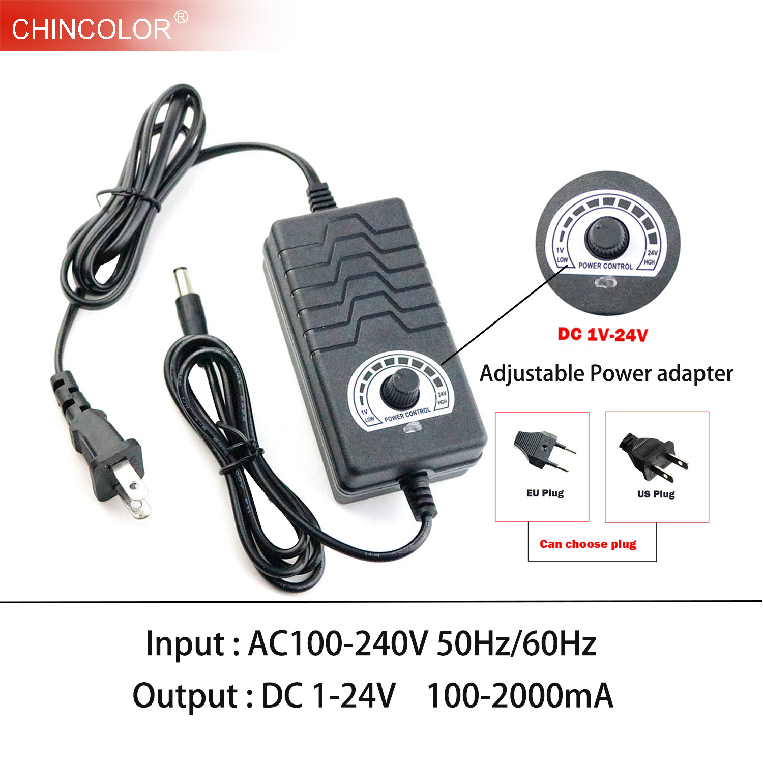 AC to DC Adapter 1-24V 2A Adjustable Volt Power Supply Motor Speed Controller