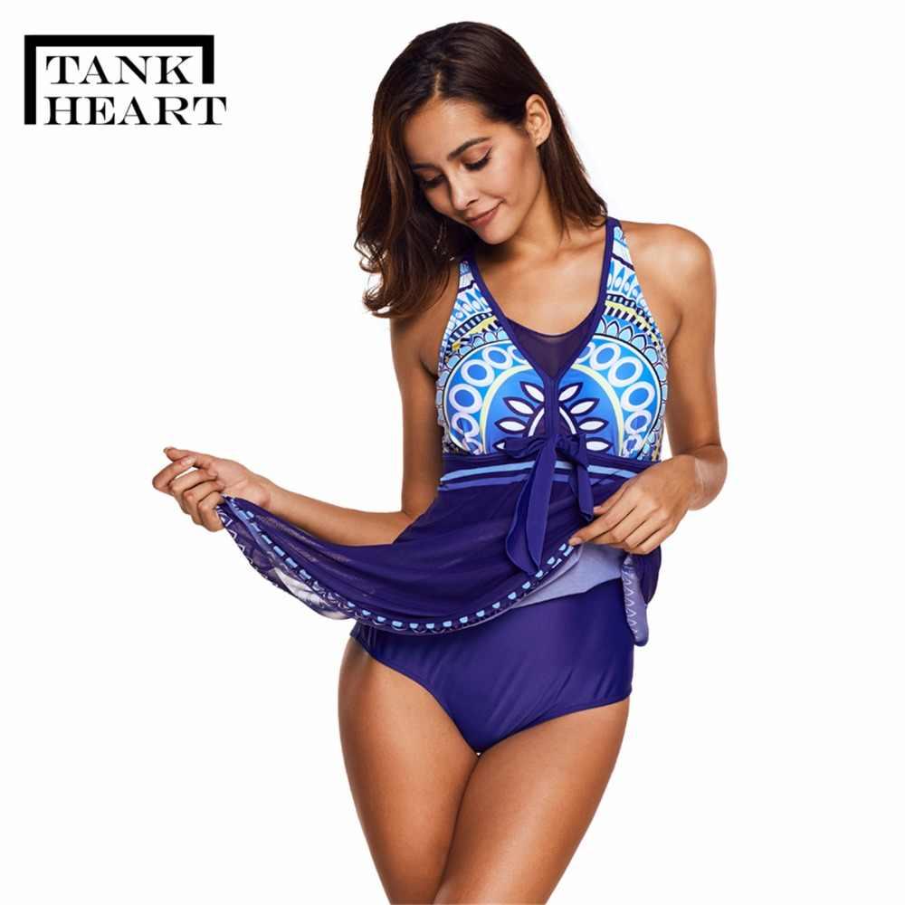 db4842613ec90 ... Tank Heart Vintag Sexy One Piece Swimsuit Plus Size Swimwear Large Sizes  Women Monokini Skirt Dress ...