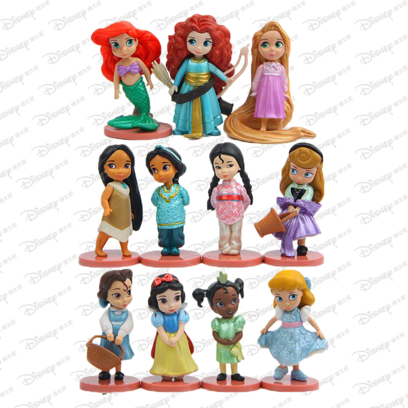11pcs/set Disney Princess Action Figures Toys Rapunzel Snow Cinderella White Snow Fairy Rapunzel Doll Decoration Children Gift