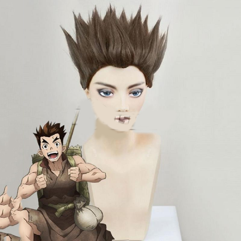 Anime Dr.Stone Cosplay Costume Taiju Oki Wigs Party Adult Hair Halloween Brown Short Hair Male Costumes Props Accessories