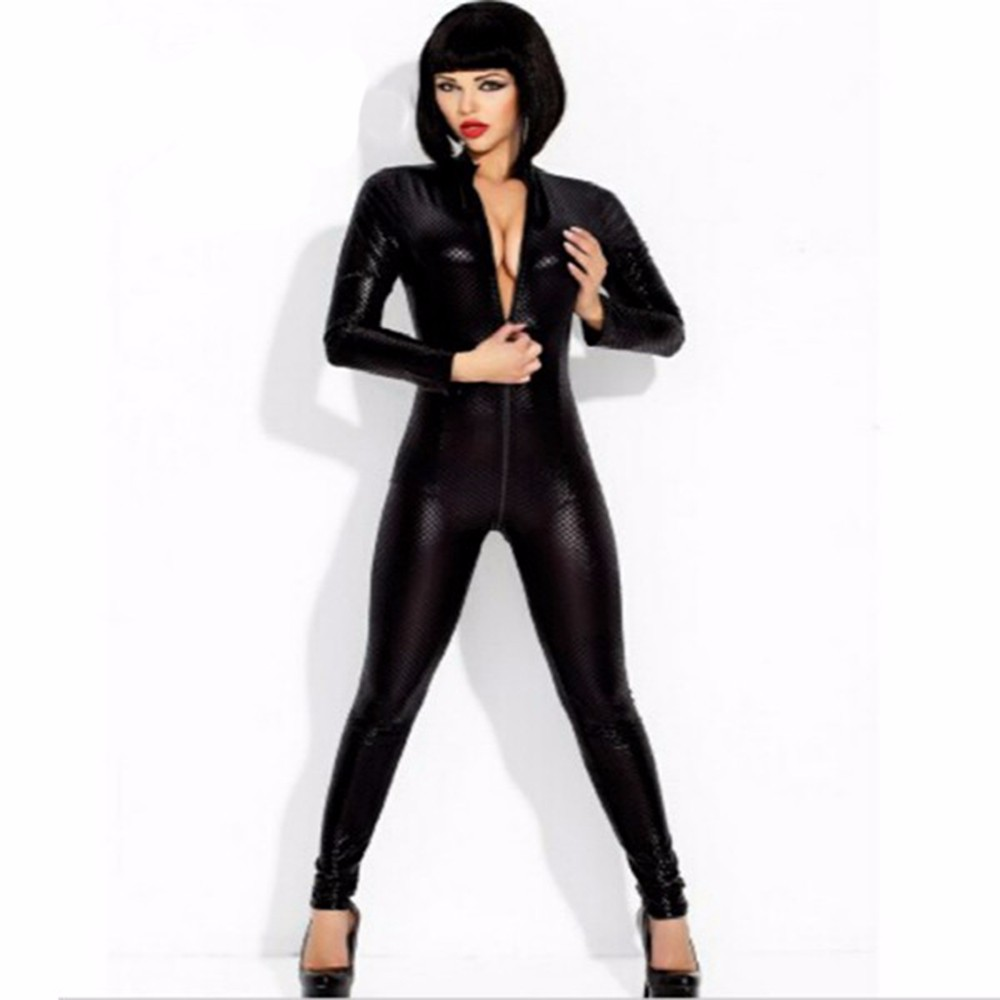 Buy New Women Black Sexy Faux Leather Latex Catsuit Clubwear Zipper Crotch Snakeskin Bondage Costumes Vinyl Sexy Jumpsuit W7941