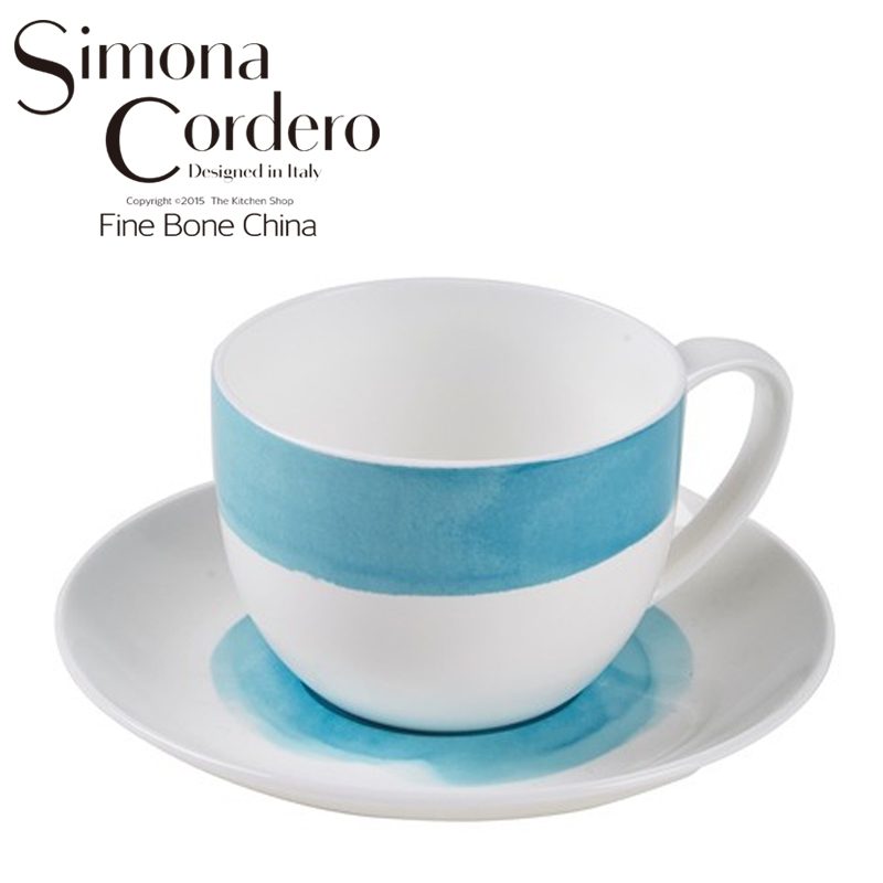 Fine Bone China Watercolour Coffee Cup Saucer Sets European Simple Office Afternoon Tea Cup Free Shipping