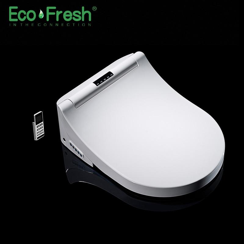 Ecofresh Smart toilet seat Washlet D-shape Electric Bidet cover heat double nozzle soft wash dry massage fit wall-mounted toilet