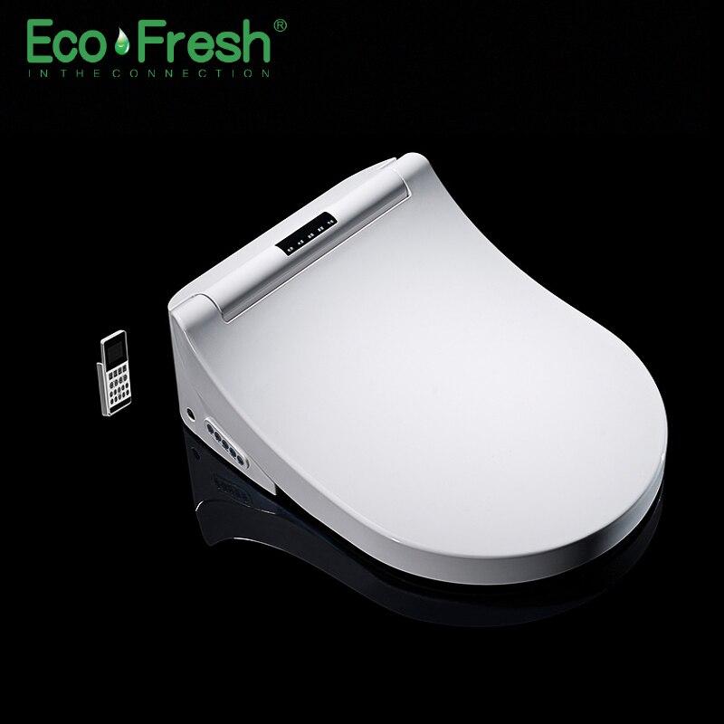 Ecofresh assento do vaso sanitário Inteligente cobertura Bidé Washlet D-forma Elétrica calor parede dupla bico de lavagem suave massagem seca fit -montado higiênico