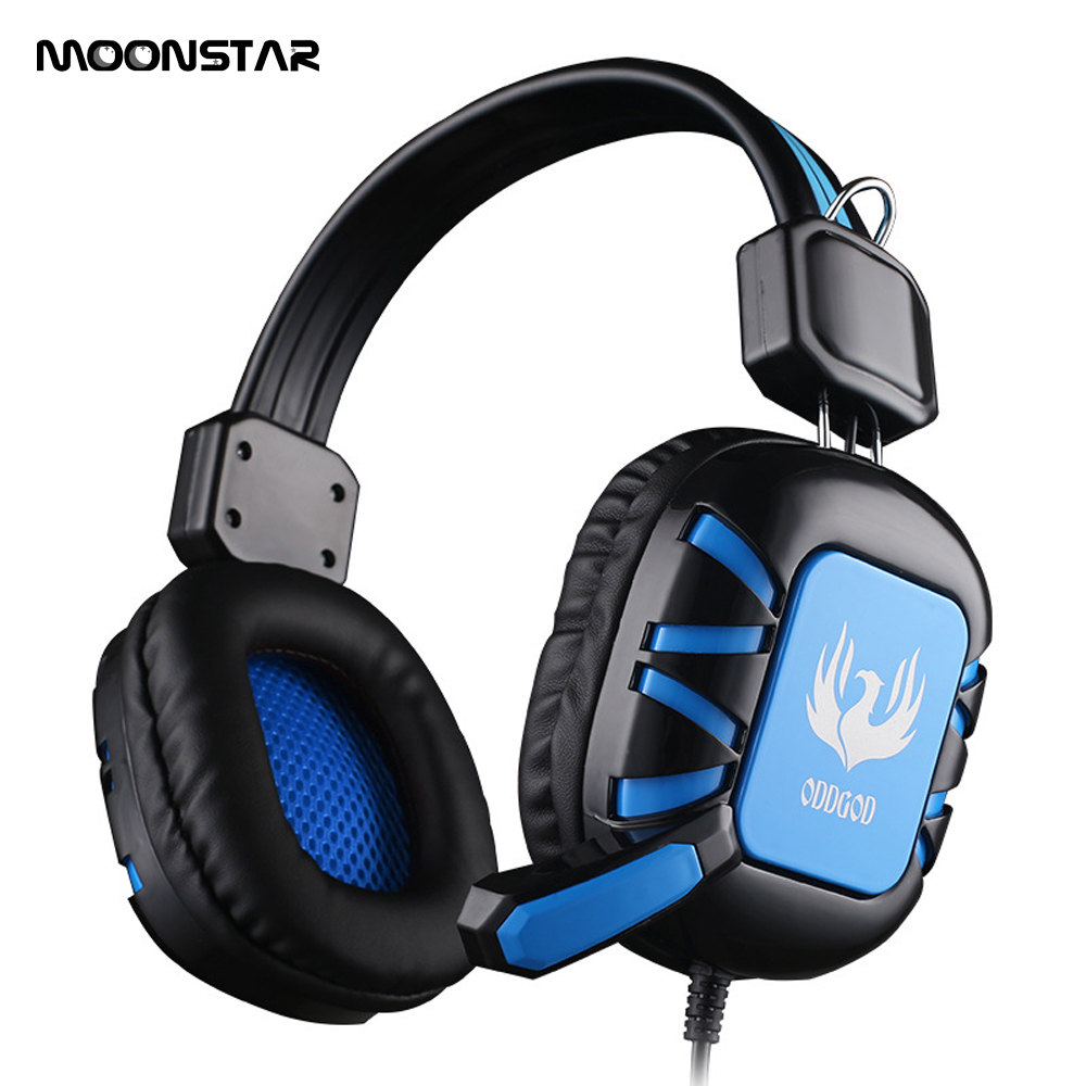 MOONSTAR Professional gaming headphone Video game headphones 3D surround sound Headset with Microphone 3.5mm plug for PC Gamer sades wolfang virtual 7 1 surround sound headphones rotatable microphone headband headphone headset for video game