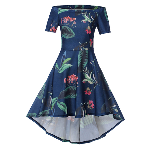 2019 new short-sleeved women's dress printed bouquets waist long dress Slim fashion wild self-cultivation pleated dress