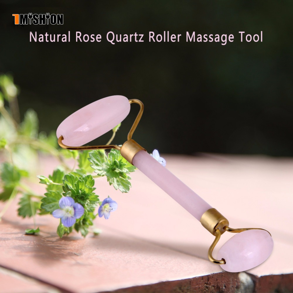 Natural Rose Quartz jade roller Crystal Facial Massage Gua Sha Roller Stone Face Thin Double-head Anti-Wrinkle Face-lift Massage himabm 100% natural jade facial massage roller anti wrinkle thin face beauty bar stick face slimming wheel body massage