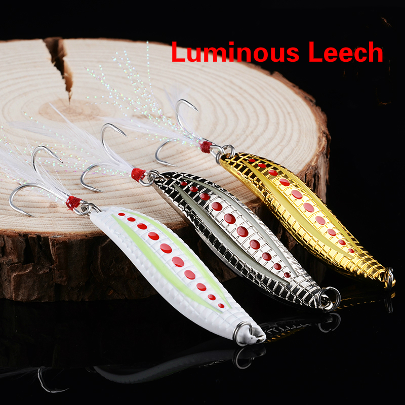 Logam VIB 3 warna 7g / 10g / 15g / 20g Luminous Leech gelisah Spin Spinner Sendok Memancing Keras Umpan Malam FishingTackle Fishing Lures