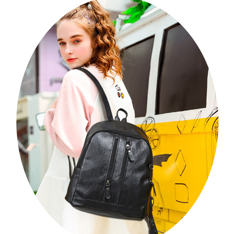6973e1a916 Aliexpress.com   Buy Backpack Women Fashion Soft Leather Shoulder Small  Backpacks Casual Shopping Ladies Multi Zipper Mini Bags Leather Backpack  from ...