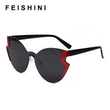 FEISHINI Pink Vintage Cat eye Sunglasses For Women Rimless Diamond cutting Lens Brand Designer Fashion Shades Sun Glasses 2019