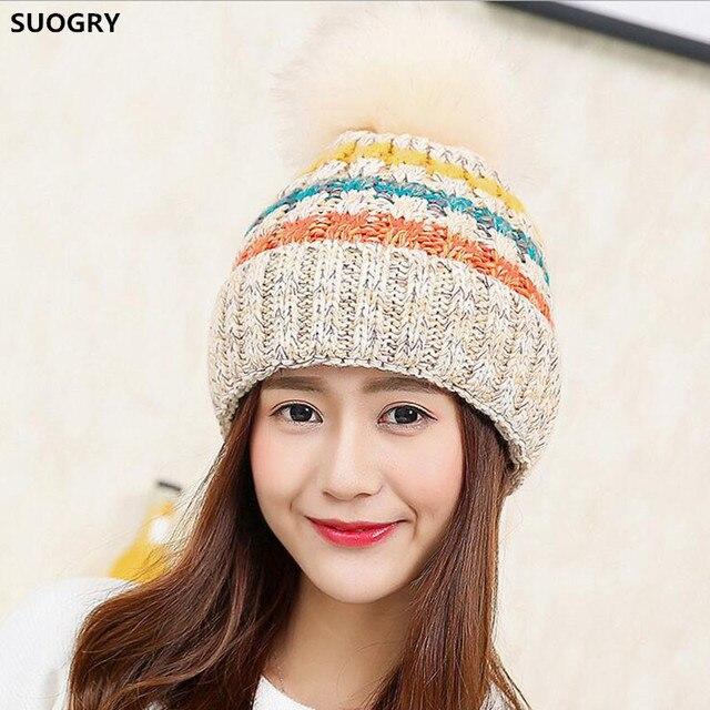 9eb30b8cc66 Beanies Women Winter Cap Thicker plus velvet Knitted Hat High Quality Cap  Woman Bonnet Warm Hut