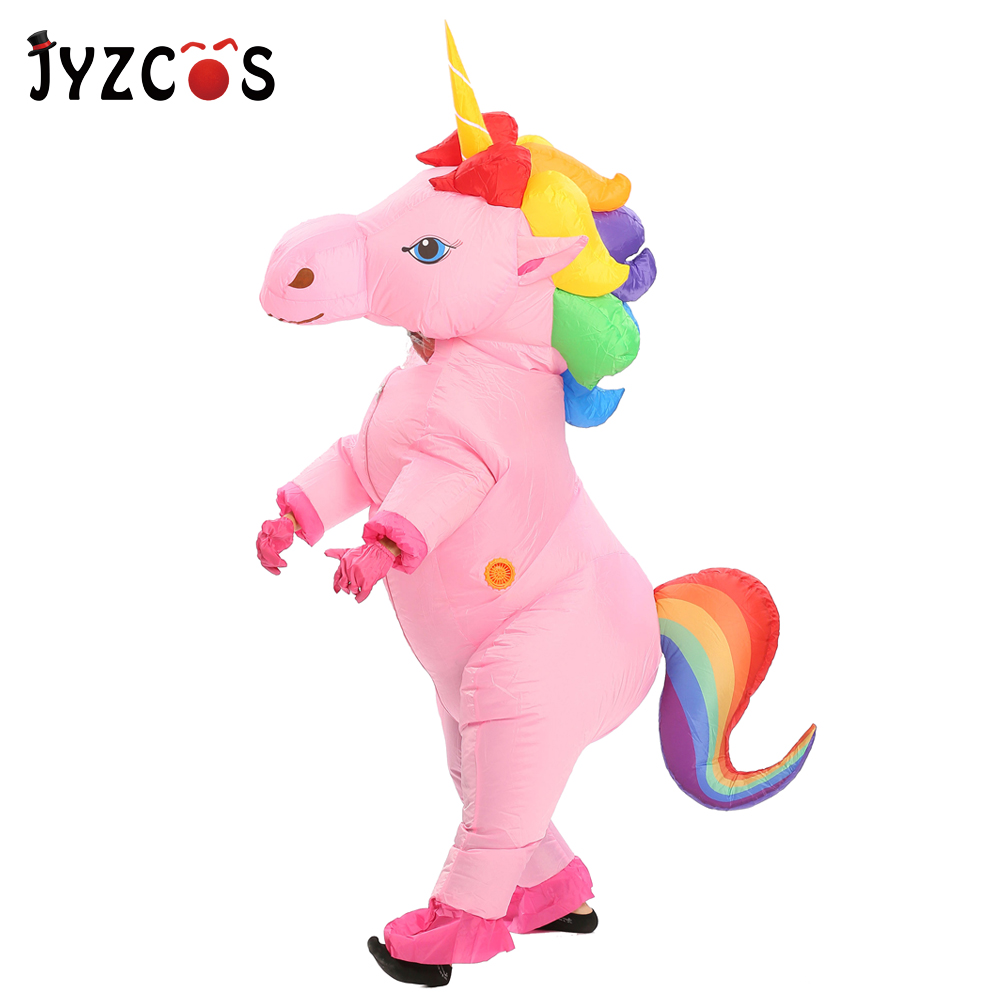JYZCOS Unicorn Inflatable Costume For Adult Kid Halloween Party Costume Carnival Mascot Costume Purim Christmas Cosplay Clothing