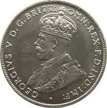 In australia 1 Un Florin Due Scellini George V 1921 Coronata Del Busto A Sinistra In Ottone Placcato Argento Copia Moneta Con Reeded Bordo(China)