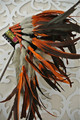 Indian Feather Headdress orange and black handmade Indian Feather headdress american feather costumes war bonnet hat