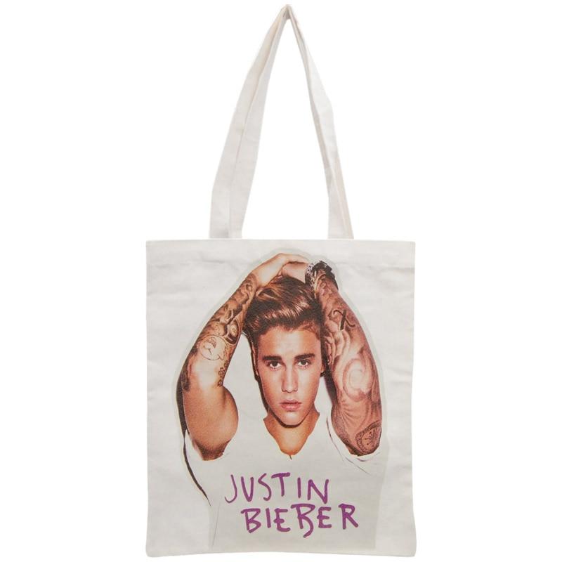 Custom Justin Bieber Tote Bag Reusable Handbag Women Shoulder Foldable Canvas Shopping Bags Customize your image tote bag