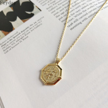 Vintage Octagon Coin Pendant Choker Necklaces S925 Sterling Sliver Gold Necklace for Women Fashion Jewelry Party