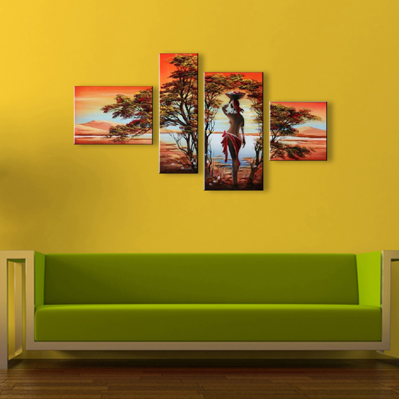 Hand Painted Natural Scenery Oil Painting Canvas African Women ...