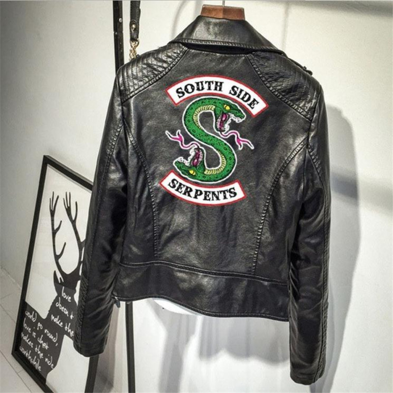 Hot-air American drama Valley Town Ladies PU   leather   Jacket Coat Personality Simple Snake Embroidered Jacket Riverdale American