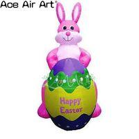Лидер продаж пасхальные надувная копия модель, 3 м H надувные розовый кролик с пасхальное яйцо для продажи