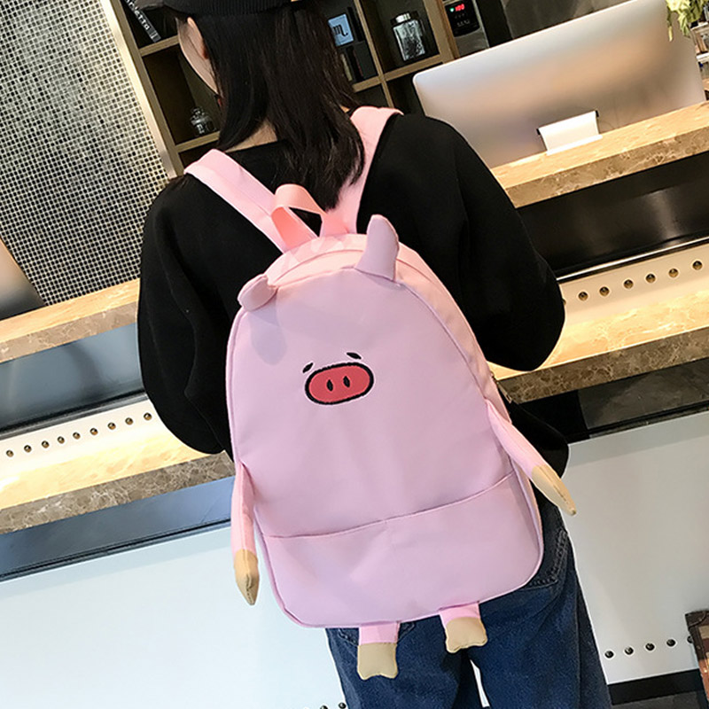 Casual Backpack Women Schoolbags Canvas Adorable Cartoon for Piggy Hot Cute