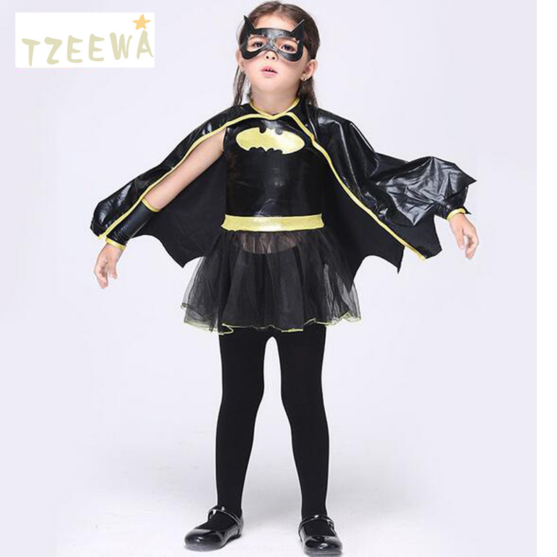New Child Animal Cosplay Cute Bat Costume Kids Halloween Clothes For Girls Black Kids Batman Clothes Halloween Girl Clothing halloween costume cosplay dance party show props cute siamese bats clothes for kids 228g