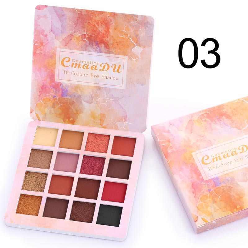 Cmaadu 16 Warna Matte dan Logam Eyeshadow Palet Bersinar Riasan Mata Tahan Air Berkedip Eye Shadow Kosmetik Profesional
