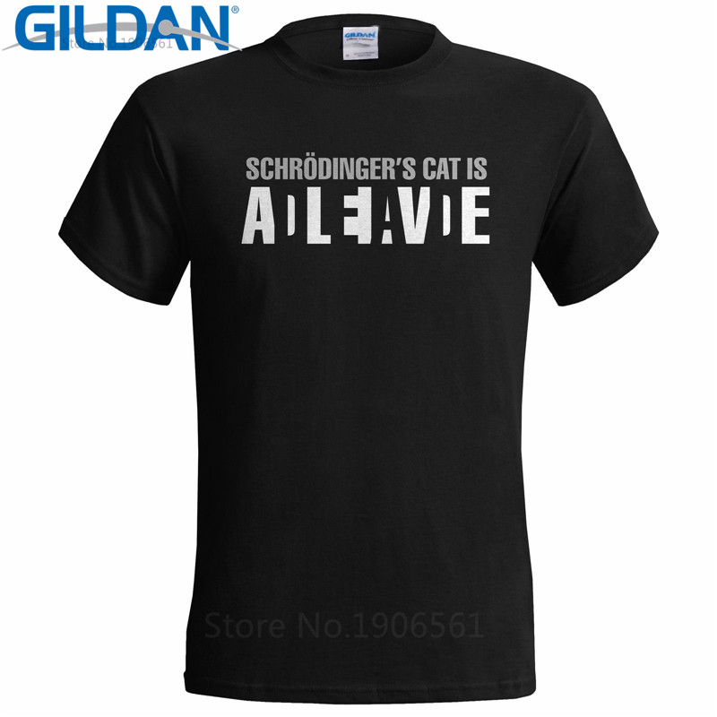Design Tee Shirt Men 39 S Short Sleeve Printing Machine O Neck Homme Schrodingers Cat Is Alive T Shirts in T Shirts from Men 39 s Clothing