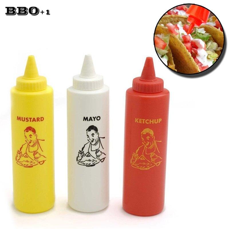 3pcs 16oz Squeeze Bottle Set Kitchen Plastic Condiment