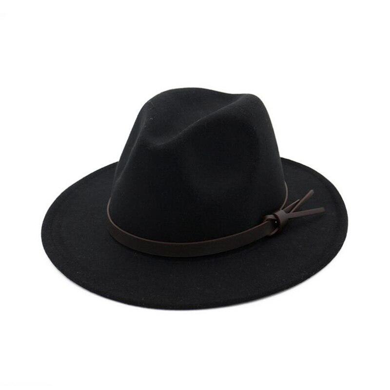 FS Vintage Black Fedora Hat Trilby Women Wool Felt Fedora Wide Brim ... 15cea46b51