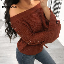 Danjeaner Sexy Slash Neck Lace Up Pullovers Vintage Caramel Color Flare Sleeve Sweaters Autumn Winter Thick Warm Tops Jumper