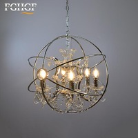 Retro Orb Crystal Chandelier Lighting Chrome Cristal Chandeliers Hanging Light Fixture for Living and Dining Room Decoration
